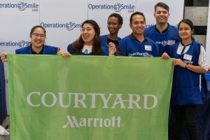 Volunteers from the Courtyard Marriott in Abu Dhabi at the Operation Smile UAE book sale